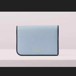 Kate Spade Sam card case Holder Leather Blue
